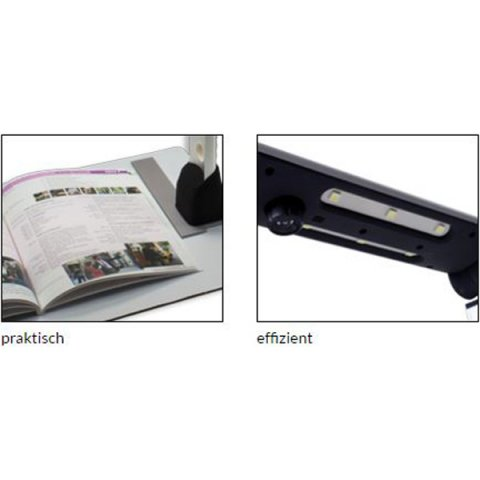 A book open on the gray document platform (left) and a black camera attached to scan a document (right).