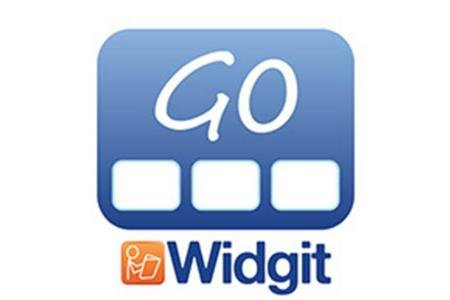 Logo featuring a rounded blue square with the word GO on top and three white rectangles in a row below it. Underneath is the word Widgit in blue and to the right is a small orange square with a stick figure of a person reading a book.