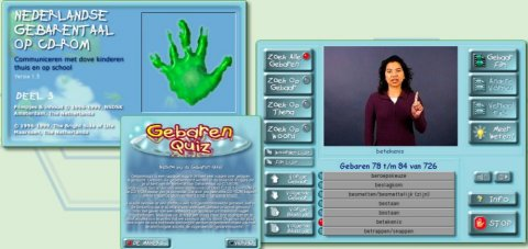 Three screenshots of the Dutch Sign Language program featuring the home screen, Gesture Quiz, and sample DSL gesture video.