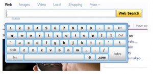 a search browser screen with virtual keyboard underneath search bar