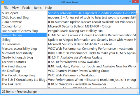 Screenshot of a split screen, on the left sidethere is a list of article titlesand one of them is highlighted and on the right side, appears the full text of thehighlighted article.