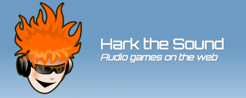 Long horizontal box with light blue background a cartoon image of a boy's head on the left with orange, fire-like hair and wearing sunglasses and headphones. The name Hark the Sound is on the right.