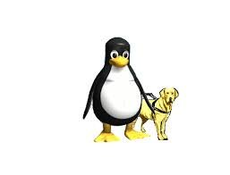Logo of Linux Speakup featuring a penguin with yellow feet next to a small yellow dog on a leash.