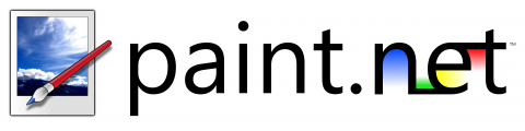 """Product's logo featuring the site name """"paint.net"""" written in a black lower case font with colors painted on the word """"net"""". An icon preceding this is of a paintbrush laying across a horizon scene."""