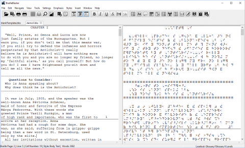 Two tab screen interface with letter text on the left and braille text on the right.
