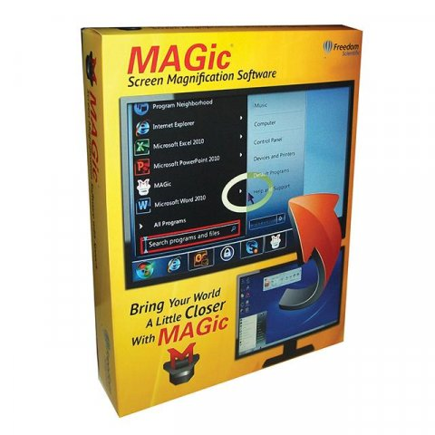 Large, yellow rectangular software box with screen shot of MAGic software menu on cover.