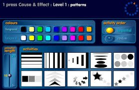 "Menu titled ""1 press Cause & Effect: Level 1: patterns"" and includes choices for colors, activity order, length, and various activities represented by thumbnails of patterns."