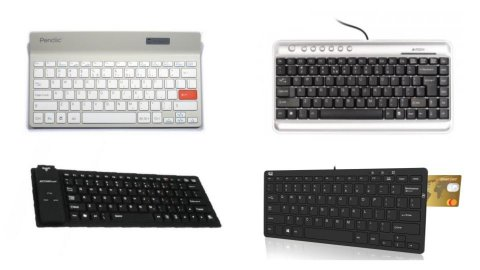 Various models of compact computer keyboards. They are all nearly identical to standard keyboards, except that they are missing numeric keypads on the right-hand side, and the keys are more compactly arranged. One model has a card reader slot on the upper right-hand corner. two are solid black. One model is black keys with light silver top and bottom borders. one is medium silver with light silver keys.