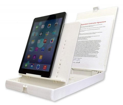 White portable stand with two flaps, one with a ledge to prop a device on and the other to place the document to be scanned. This image version is seen holding an iPad.