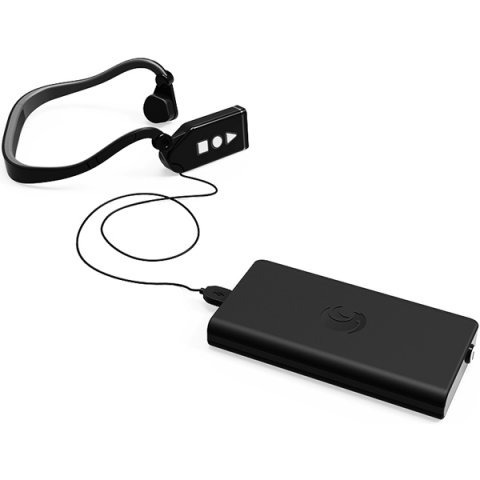 Rectangular device with camera lens on top edge connected to headset with earbuds