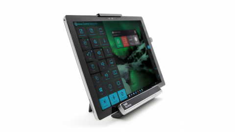 Perspective view of a touch screen tablet.