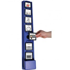 """A wall mounted hardware which can hold 7 3"""" x 3"""" icon frames which plays recorded messages when each frame is placed. Controls are located on the side of the device for easy recording."""
