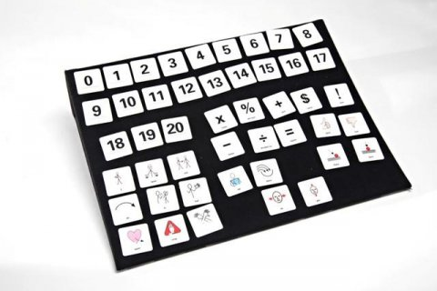 Small white icons with numbers and symbols on black, square tile.