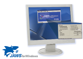 A computer monitor on a stand with screen showing the JAWS software menu open.