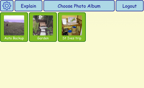 Screenshot of digital photo albums with option to view and edit the albums.