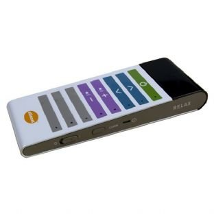 Rectangular remote with multiple colors for each different control. Switch controls along right edge of remote.