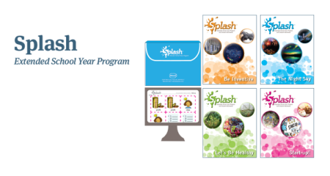 Graphic showing the Splash: Extended School Year Program logo, along with images of Splash workbook colors (They are each orange, blue, green, and pink). The Splash software is also shown displayed on a computer monitor.
