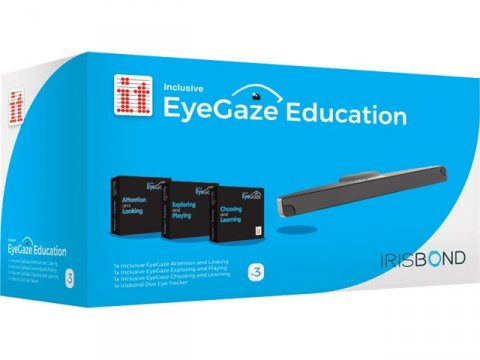 Blue and white rectangular EyeGaze Education box with images of the eyegaze tracking bar and the three software packages included.