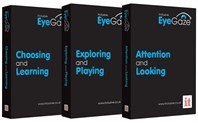 Three software packages: Choosing and Learning, Exploring and Playing, and Attention and Looking EyeGaze software. The software boxes are black with the titles printed in turquoise.