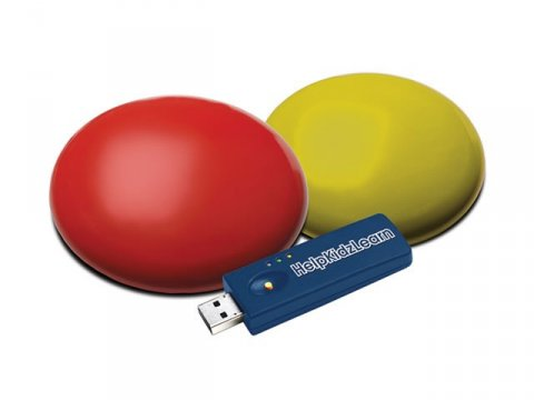 Red switch and yellow round switches next to USB.