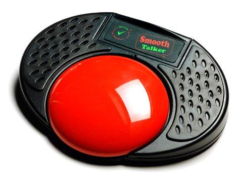 Red button embedded on black, oval speaker.
