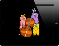Three cats, pink, yellow, and purple, playing a cello displayed on an iPad.
