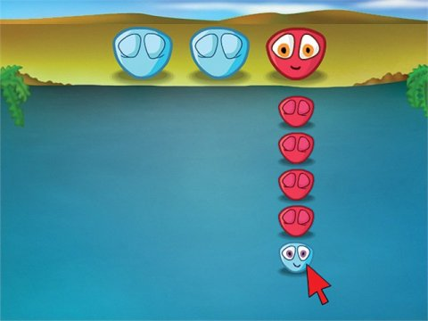 Mouse game with blue and pink circular face animations to click.