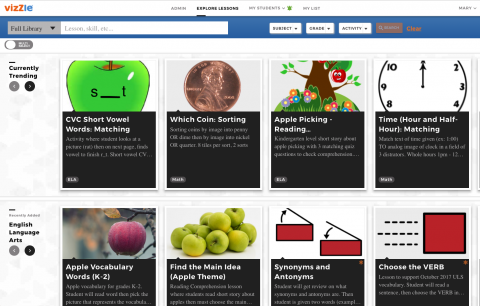 Homepage with eight icons of lessons and their descriptions with a search bar along the top left of screen.