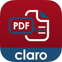 """ClaroPDF logo: a red square with a white PDF illustration and the word """"claro"""" written in white with a blue background fill at the bottom of the square."""