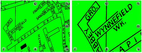 Magnified image of green map with black text.