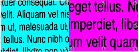 Magnified image of black text on blue background and black text on purple background.