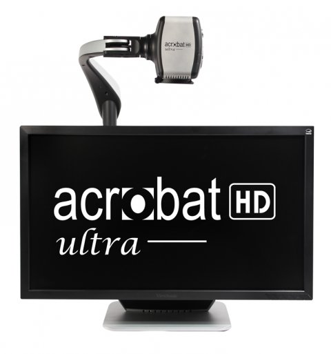 "Magnifiier with display screen and magnifying camera mounted overhead. The monitor is displaying the ""acrobat HD ultra"" logo in white font."