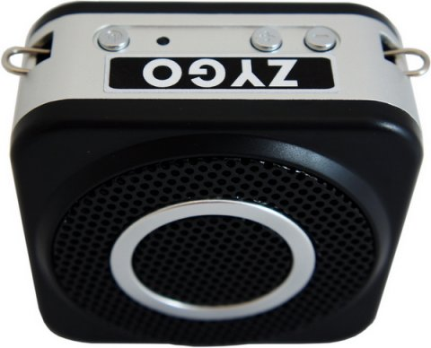 Speaker facing front and control buttons on top edge underneath logo.