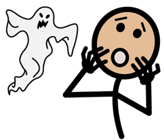 Example of a symbol that is included in the software. The symbol is a stick figure scared by ghost.