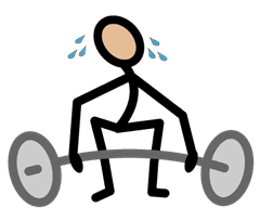 Example of a symbol that is included in the software. The symbol is a stick figure sweating while trying to lift a barbell.