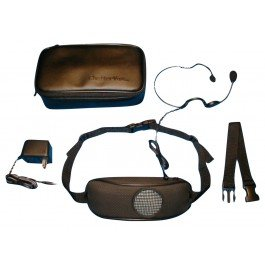 Leather waistpack, voice amplifier with headphones, microphone, charger, and waistpack clip.