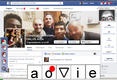 Screenshot of what navigating Facebook looks like using CiaoMundo. In the top-right corner, an in-screen camera shows the users' eyes. There is a small vertical CiaoMundo menu with a search bar on the left side of the screen. The on-screen 5-letter CiaoMundo keyboard floats across the bottom.