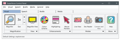 Menu options, including magnification, view, enhancements, modes, and more.