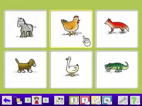 Software screen with lime green background and six different illustrated animal icons, each in a grid. Below, a blue menu bar with various menu icons.
