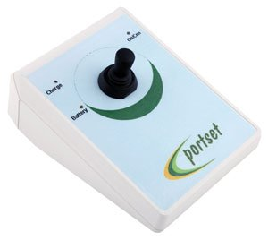 Triangular inclined device with joystick in center and logo written across the bottom edge.