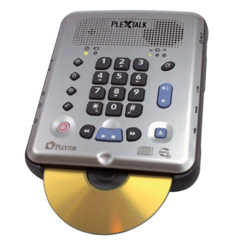 Square, handheld device with buttons and speakers on the front plate and cd input at the base.