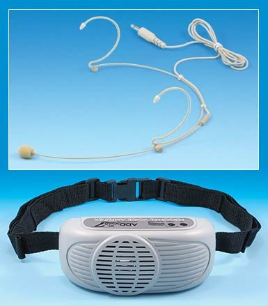 """Medium-sized off-white device that resembles a """"boom box,"""" with a black strap attached. Above,  an off-white microphone is shown."""