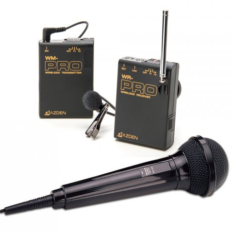 Wireless audio system with transmitter, handheld and lapel microphones, and receiver.