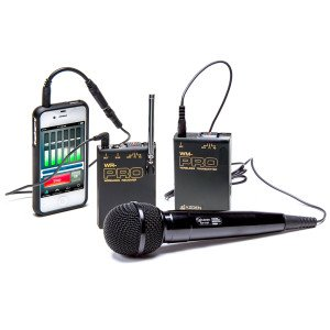 Wireless Audio System consisting of a transmitter, receiver, and a handheld mic. An iPhone is connected by cable to the receiver.