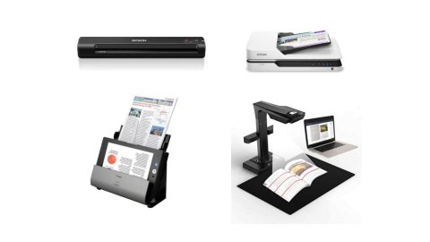 Various models of document scanners. One is long, thin, and black in color. Another is more rectangular and white, with the paper fed through the top of the device while the device sits flat. A third model is black and resembles a magazine stand, with the device standing upright, and the paper feed being located where a standard printer's would be. The fourth model is black and resembles a video magnifier device. The scanner is a camera with a long neck that has a flat platform base for placing materials.