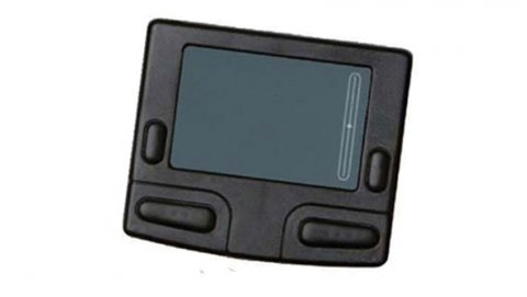 Trackpad with four buttons with a screen in the center.