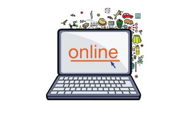 An illustrated graphic of an open laptop displaying the Widgit Online Logo.