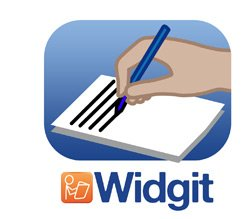 The Widgit Writer logo: an illustrated graphic of a handwriting on a sheet of paper.
