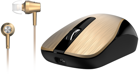 Black mouse with gold clickers, black scroll wheel next to gold earbuds.