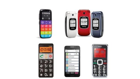 "Various models of cell phones for seniors. They resemble standard cell phones. One model is a flip phone; the other three are ""candy bar"" phones with large, easy-to-see buttons. One model is a smartphone with a touchscreen. This shows a simplified menu for""Phone,"" ""Text Messages,"" ""Camera,"" ""Email Messages,"" etc. One phone has purple, red, pink, lime yellow, and blue buttons. The other models are black, white, red, and dark grey."